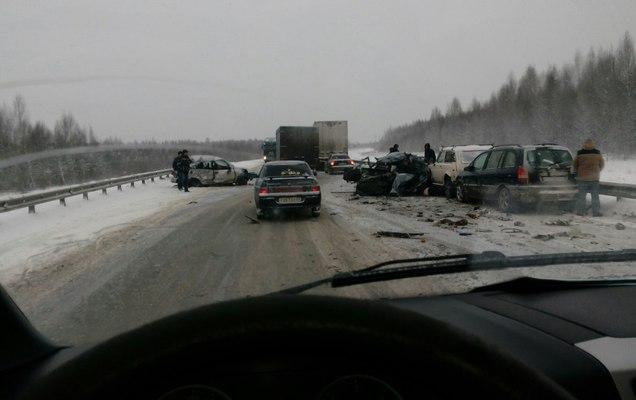 ВПрикамье случилось массовое ДТП наобъезде Краснокамска